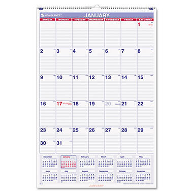"At-A-Glance Recycled Monthly Wall Calendar - Blue/Red - 20"" x 30"""