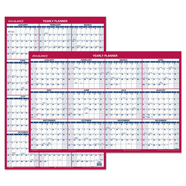 AT-A-GLANCE - Erasable Vertical/Horizontal Wall Planner, 24 x 36, Blue/Red -  2016