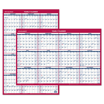 """AT-A-GLANCE - Recycled Vertical/Horizontal Erasable Wall Planner, 24"""" x 36"""" -  2015"""