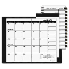 AT-A-GLANCE Recycled Monthly Planner, Unruled, 3-1/2 x 6-1/8, Black -  2015-2016