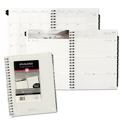 AT-A-GLANCE Executive - Executive Recycled Fashion Weekly/Monthly Planner Refill, 8 1/4 x 10 7/8 -  2015