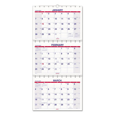 AT-A-GLANCE Look Forward Three-Month View Wall Calendar, 12 x 26 1/2 -  2014-2016