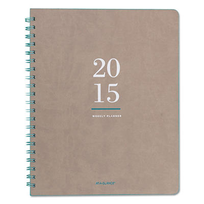 AT-A-GLANCE Collections Weekly/Monthly Planner, 8 7/8 x 11, Natural Tan -  2015-2016
