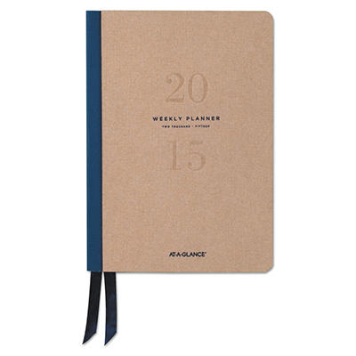 AT-A-GLANCE Collections Weekly/Monthly Casebound Planner, 5.5 x 8.25, Natural Tan -  2015-2016