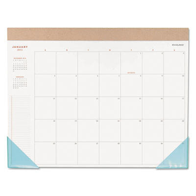 AT-A-GLANCE Collections Monthly Desk Pad, 22 x 17, Blue Corners -  2015