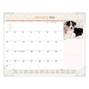 AT-A-GLANCE - Puppies Monthly Desk Pad Calendar, 22 x 17 -  2016