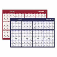 AT-A-GLANCE Reversible Horizontal Erasable Wall Planner, 48 x 32, 2017