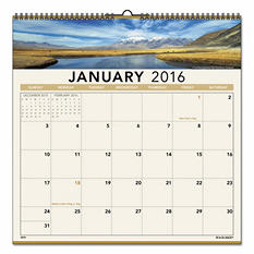 AT-A-GLANCE - Open Plan Landscape Wall Calendar, 12 x 12 -  2016