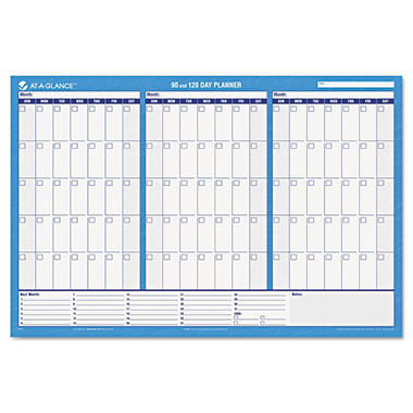 AT-A-GLANCE Recycled 90/120-Day Undated Horizontal Erasable Wall Planner -  36