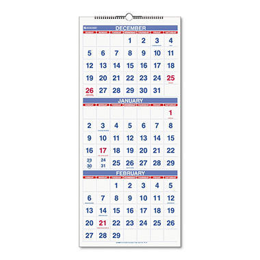 At-A-Glance Recycled Three-Month Reference Wall Calendar, 12