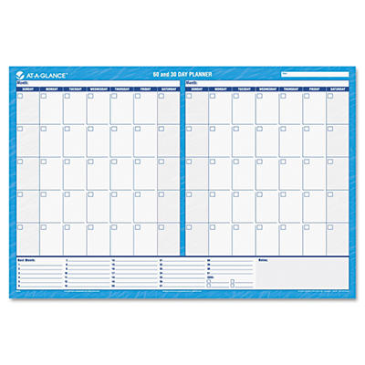 AT-A-GLANCE 30/60-Day Undated Horizontal Erasable Wall Planner, 48 x 32 -  Blue/White