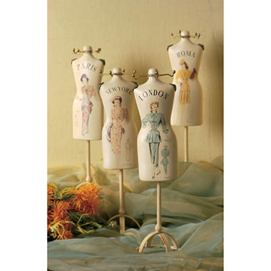 Assorted Dress Form Figurines - Set of 4