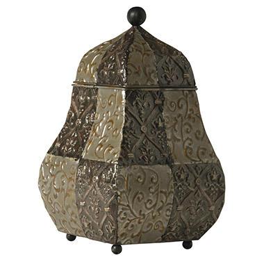 Embossed Metal Jar With Lid