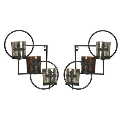 Mercury Glass Hurricane Wall Sconces