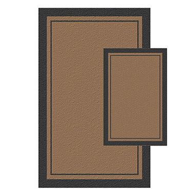 Double Border Thin Black/Brown Rug Set - 2 pc.