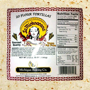 "10"" Flour Tortilla - 20 ct. - 44 oz."