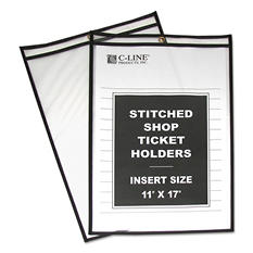 "C-Line - Shop Ticket Holders, Stitched, Both Sides Clear, 11"" x 17"" - 25 ct."