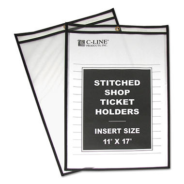 C-Line - Shop Ticket Holders, Stitched, Both Sides Clear, 11