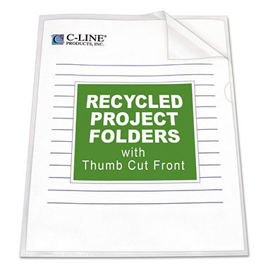 C-Line Poly Project Jacket Folders, Clear (Letter, 25 ct.)