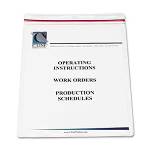 C-Line Industrial Zipper Seal Shop Ticket Holders, Vinyl, Clear, 8 1/2 x 11, 15 Pack