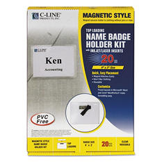 "C-Line - Magnetic Name Badge Holder Kit, Horizontal, 4""W x 3""H, Clear - 20/Box"
