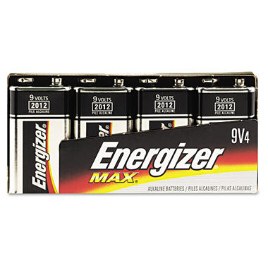 Eveready Energizer MAX Alkaline Batteries, 9V,4/Pk