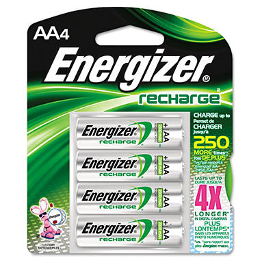 Energizer Rechargeable NiMH AA Batteries - 4 pk.