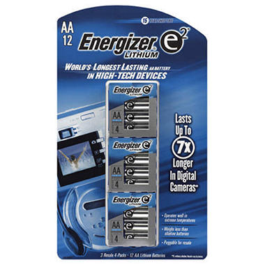 Energizer� e2� Lithium 3/4 ct. AA batteries