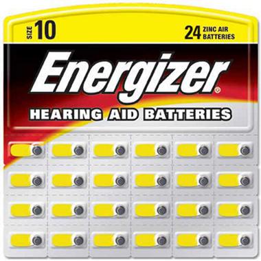 Energizer® Hearing Aid Batteries #10 ZincAir - 24 ct.