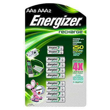Energizer Rechargeable AA 8 and AAA 2 pk.