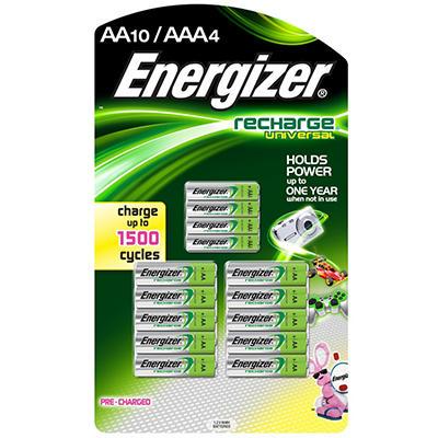 Energizer Recharge Universal Batteries - 8 AA & 4 AAA