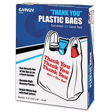 "Cosco ""Thank You"" Bags, Printed, Plastic, .5mil, 11 x 22, White, 250 per Box"