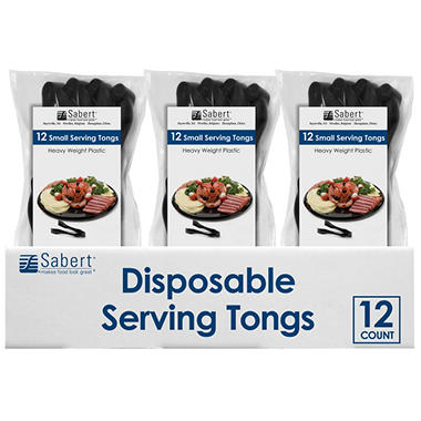 Sabert Disposable Serving Tongs (Black, 12ct.)