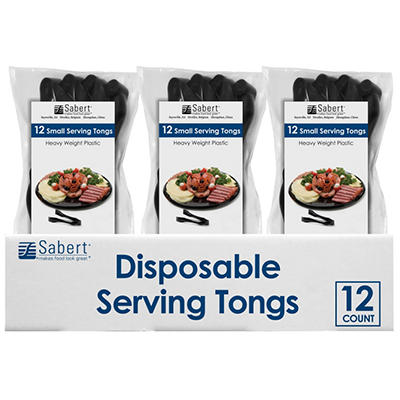 Sabert Disposable Serving Tongs - Black - 12 ct.