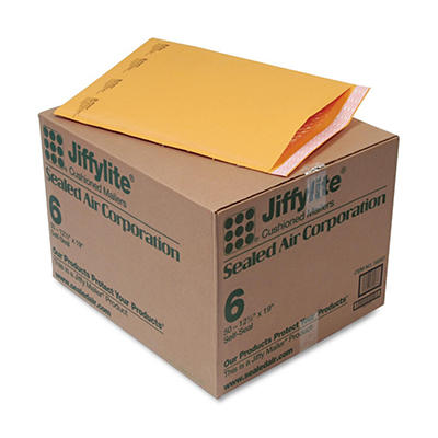 Sealed Air - Jiffylite Self-Seal Mailer, Side Seam, #6, 12 1/2 x 19, Golden Brown, 50 per Carton