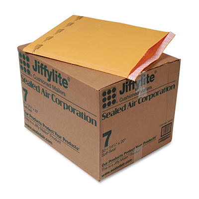 Sealed Air - Jiffylite Self-Seal Mailer, Side Seam, #7, 14 1/4 x 20, Golden Brown, 50 per Pack