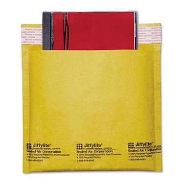 Sealed Air - Jiffylite CD/DVD Self-Seal Mailer, Side Seam, 7 1/4 x 8, Light Brown - 25/Carton