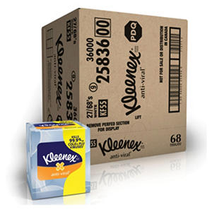 Kleenex - Anti-Viral Facial Tissue, 3-Ply, 68 Sheets/Box -  27 Boxes/Carton
