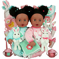 Brass Key Celebrating Twins Vinyl Dolls - Snuggle Bunnies (African American)