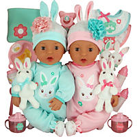 Brass Key Celebrating Twins Vinyl Dolls - Snuggle Bunnies (Hispanic)