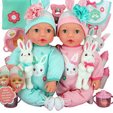 Brass Key Celebrating Twins Vinyl Dolls - Snuggle Bunnies