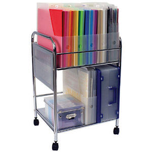 Cropper Hopper Paper Holder Trolley-Silver Metal -