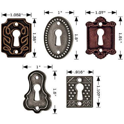 Tim Holtz Idea-Ology Keyholes w/ Long Fasteners-5/