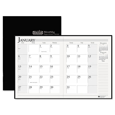 House of Doolittle - Ruled Planner with Stitched Leatherette Cover, 8-1/2 x 11, Black -  2014-2015