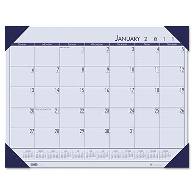 House of Doolittle - EcoTones Ocean Blue Monthly Desk Pad Calendar, 18-1/2 x 13, 2013