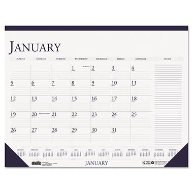 House of Doolittle Two-Color Monthly Desk Pad Calendar with Large Notes Section, 18 1/2 x 13, 2017