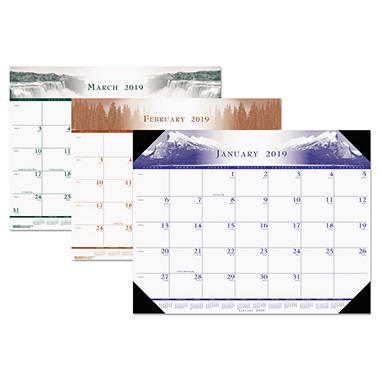 House of Doolittle - One-Color Photo Monthly Desk Pad Calendar - 22 x 17 - 2014