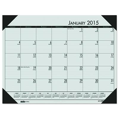 House of Doolittle EcoTones Woodland Green Monthly Desk Pad Calendar, 22 x 17 -  2015