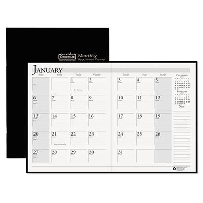 House of Doolittle Ruled 14-Month Planner with Stitched Leatherette Cover, 7 x 10, Black -  2014-2015