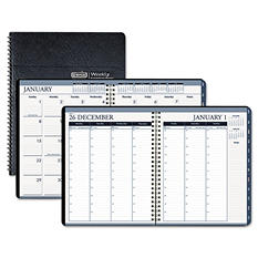 House of Doolittle Wirebound Weekly/Monthly Planner, 8-1/2 x 11, Black Leatherette -  2015